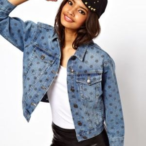 Asos Denim Jean Jacket Polka Dot
